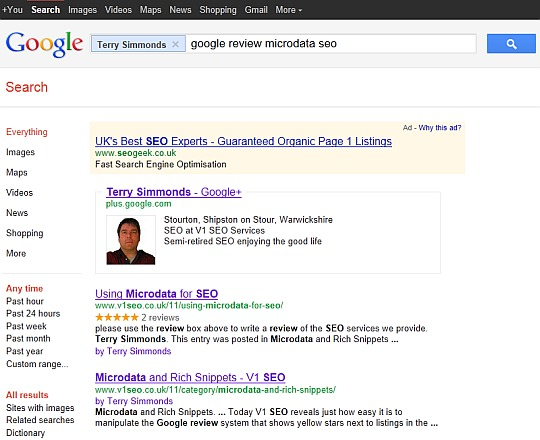 screenshot of Terry Simmonds Google Page