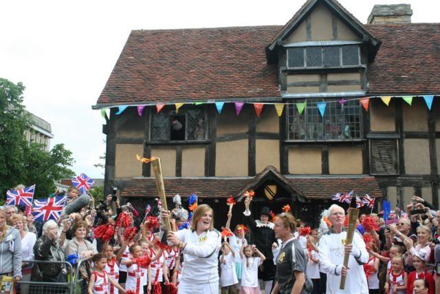 Olympic Torch going through Stratford upon Avon